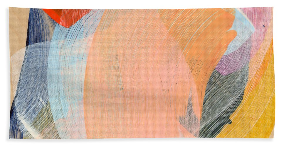 Abstract Bath Towel featuring the painting Out Of The Blue 02 by Claire Desjardins