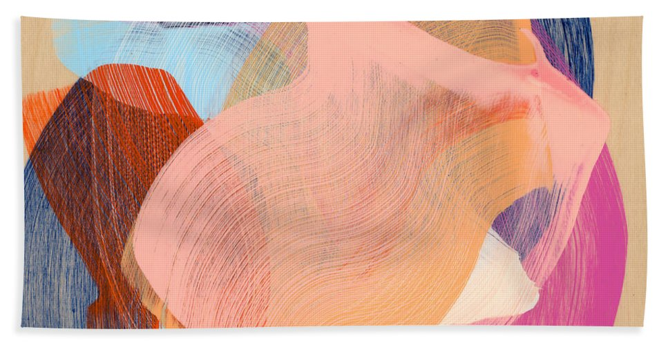 Abstract Bath Towel featuring the painting Out Of The Blue 03 by Claire Desjardins