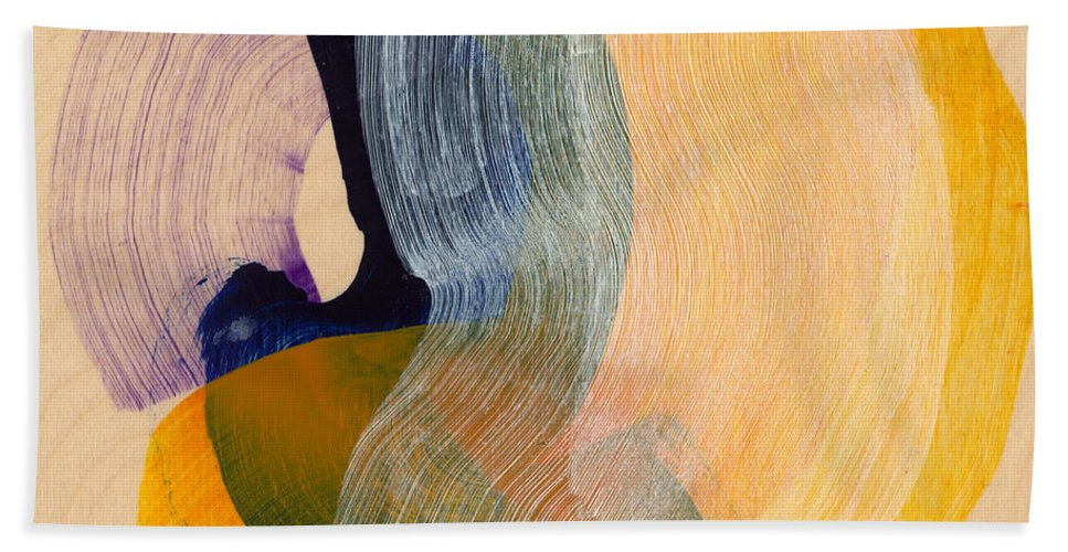 Abstract Hand Towel featuring the painting Out Of The Blue 04 by Claire Desjardins