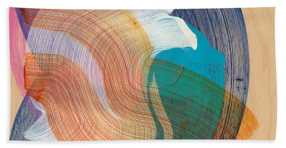 Abstract Hand Towel featuring the painting Out Of The Blue 07 by Claire Desjardins