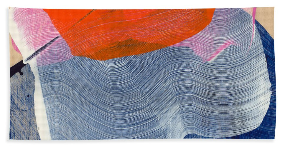 Abstract Bath Towel featuring the painting Out Of The Blue 08 by Claire Desjardins