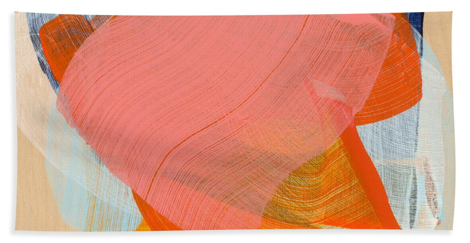 Abstract Hand Towel featuring the painting Out Of The Blue 10 by Claire Desjardins