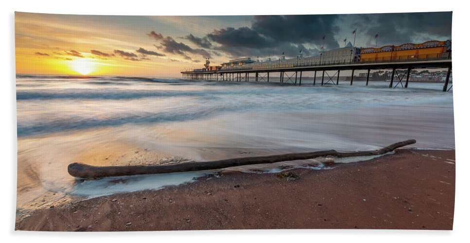 Wood Bath Sheet featuring the photograph Paignton Pier by Nigel Martin