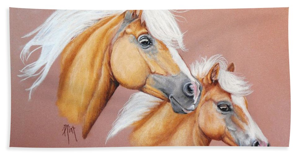 Horse Hand Towel featuring the pastel Palomino Pair by Mary Mint