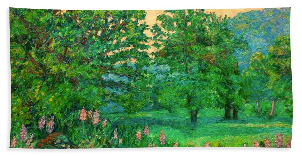 Landscape Bath Sheet featuring the painting Park Road in Radford by Kendall Kessler