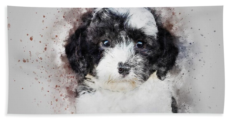 Poodle Hand Towel featuring the painting Parti Color Poodle by ArtMarketJapan