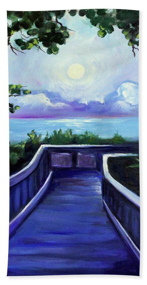 Super Moon Hand Towel featuring the painting Path to Supermoon 2 by Valerie Vescovi