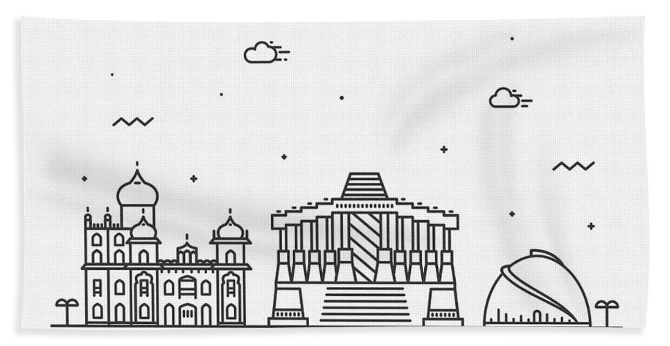 Patna Bath Towel featuring the drawing Patna Cityscape Travel Poster by Inspirowl Design