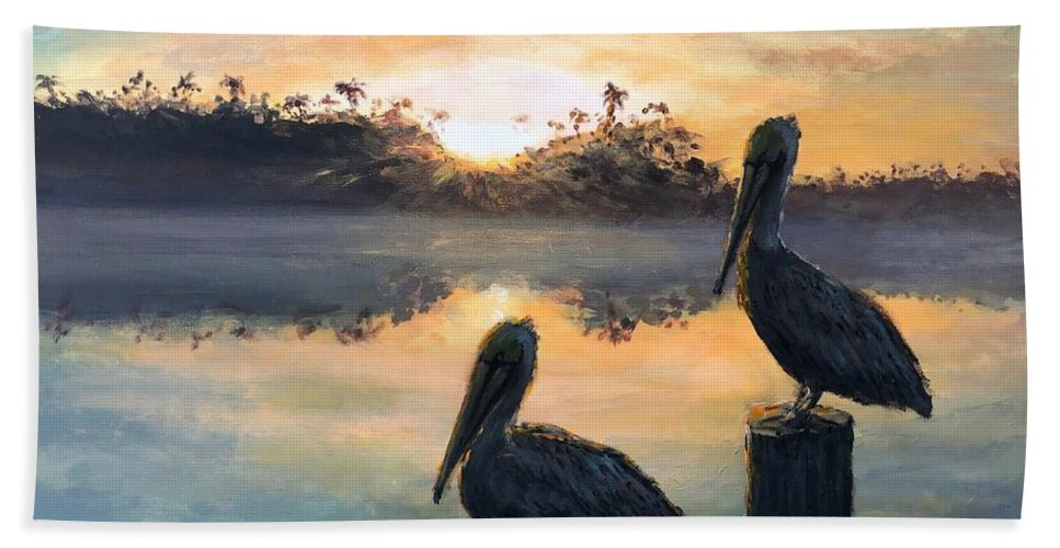 Pelican Hand Towel featuring the painting Pelican Sunrise by Paul Emig