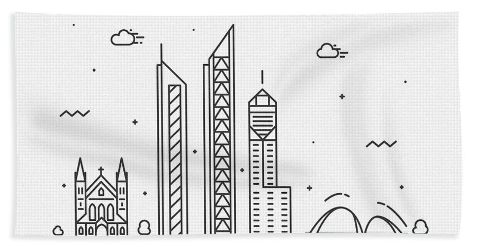 Perth Bath Towel featuring the drawing Perth Cityscape Travel Poster by Inspirowl Design