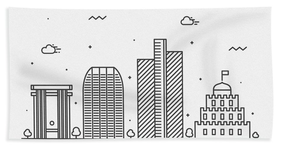 Phoenix Bath Towel featuring the drawing Phoenix Cityscape Travel Poster by Inspirowl Design