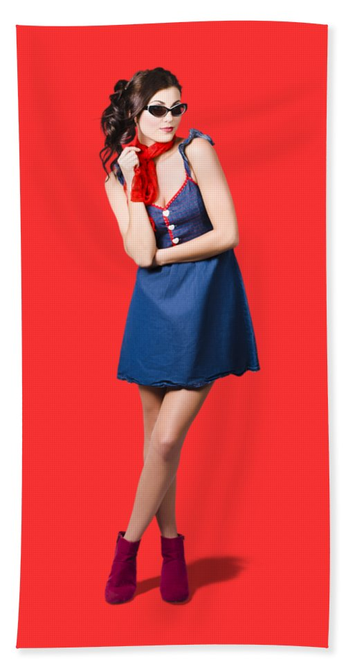 Denim Bath Towel featuring the photograph Pin Up Styling Fashion Girl In Retro Denim Dress by Jorgo Photography - Wall Art Gallery