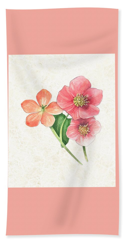 Little Gems Hand Towel featuring the painting Pink And Orange Flowers On Subtle Cream Marble by Elaine Plesser