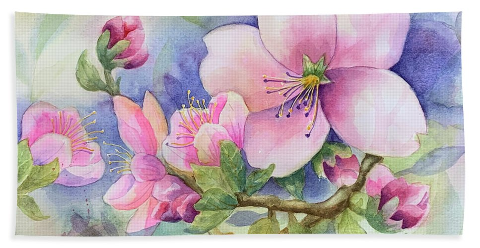 Pink Blossoms Bath Towel featuring the painting Pink Blossoms by Hilda Vandergriff