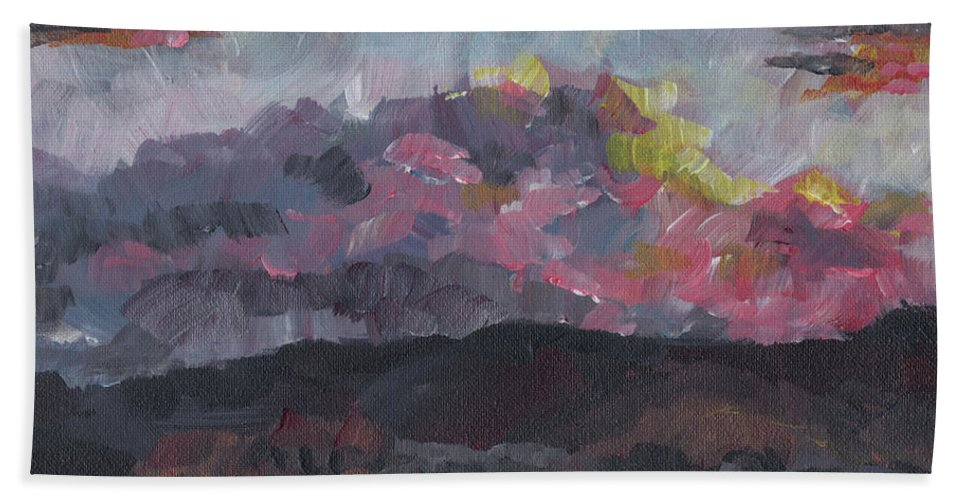 Impressionist Hand Towel featuring the painting Pink Sky Delight by Susan Moore