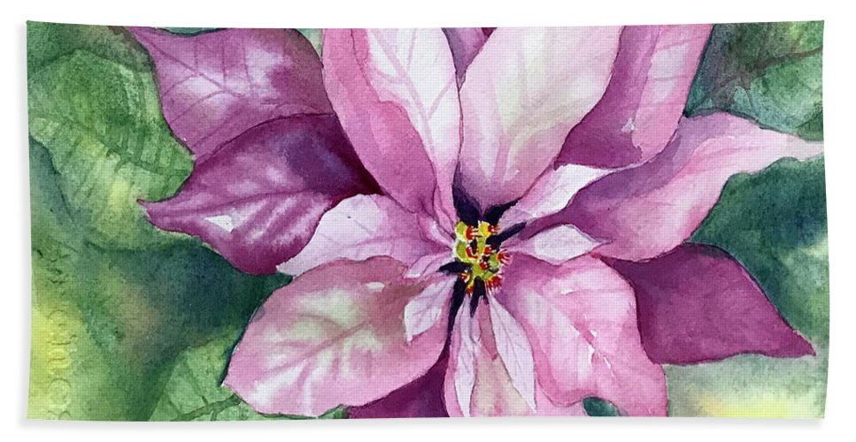 Poinsettia Bath Towel featuring the painting Poinsettia by Hilda Vandergriff