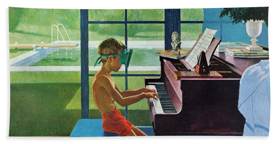 Boy Bath Towel featuring the drawing Poolside Piano Practice by George Hughes