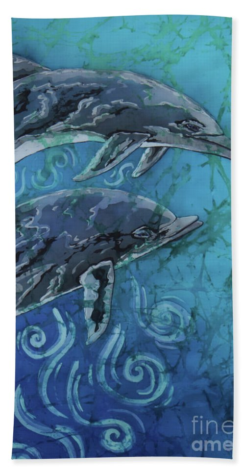Porpoise Bath Towel featuring the painting Porpoise Pair - Close Up by Sue Duda