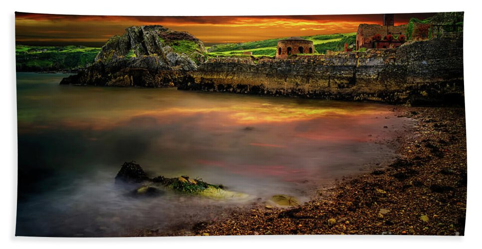 Porth Wen Bath Towel featuring the photograph Porth Wen Brickworks Sunset by Adrian Evans