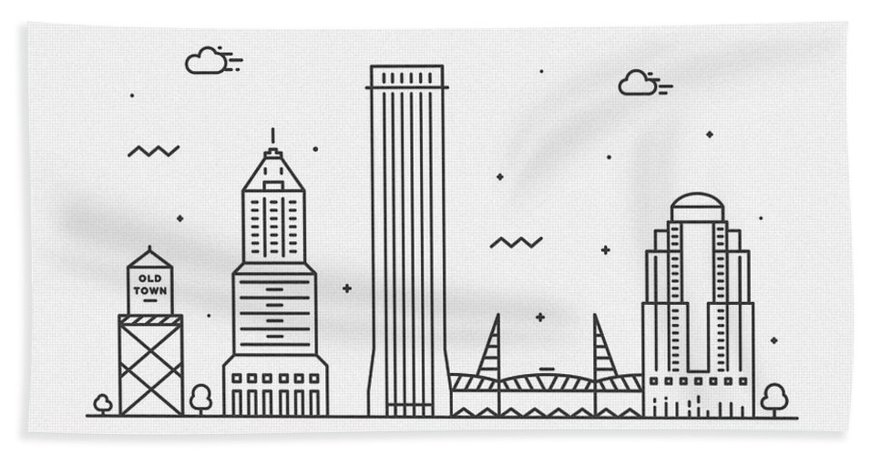Portland Bath Towel featuring the drawing Portland Cityscape Travel Poster by Inspirowl Design