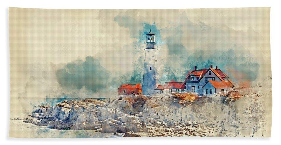 Lighthouse Bath Towel featuring the digital art Portland Head Lighthouse Portland Maine by Trevor Slauenwhite
