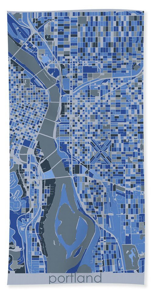 Portland Hand Towel featuring the digital art Portland Map Retro 5 by Bekim M