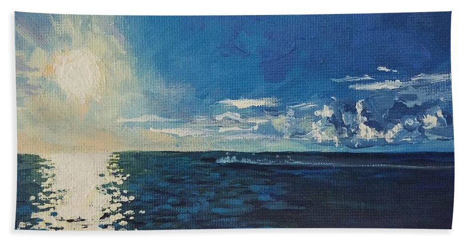Waterscape Bath Towel featuring the painting Possibility by Allison Fox