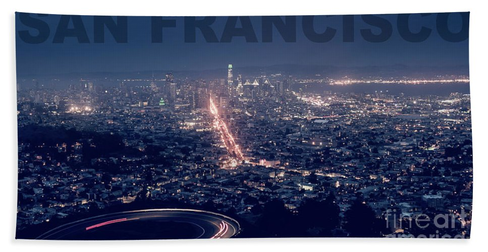 Bridge Bath Towel featuring the photograph Poster Of Downtown San Francisco With Harbor On The Right by PorqueNo Studios