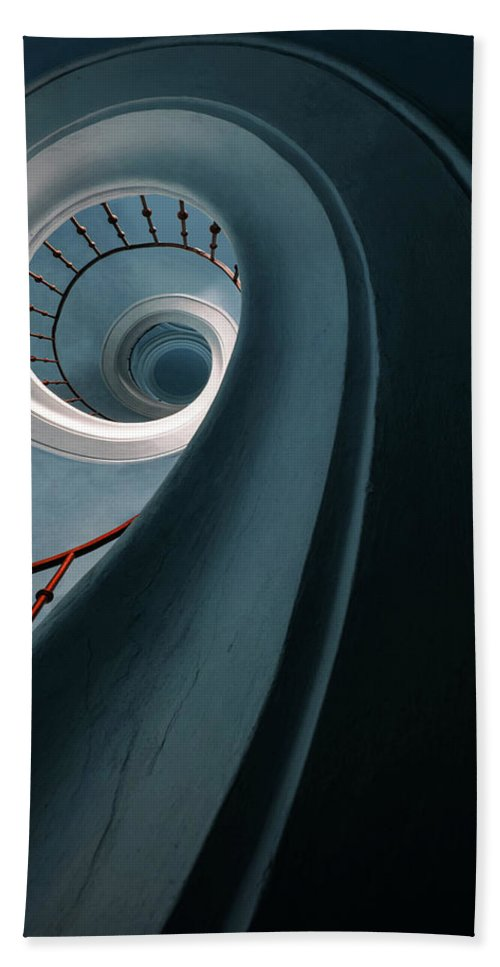 Stairway Bath Towel featuring the photograph Pretty Blue Spiral Staircase by Jaroslaw Blaminsky