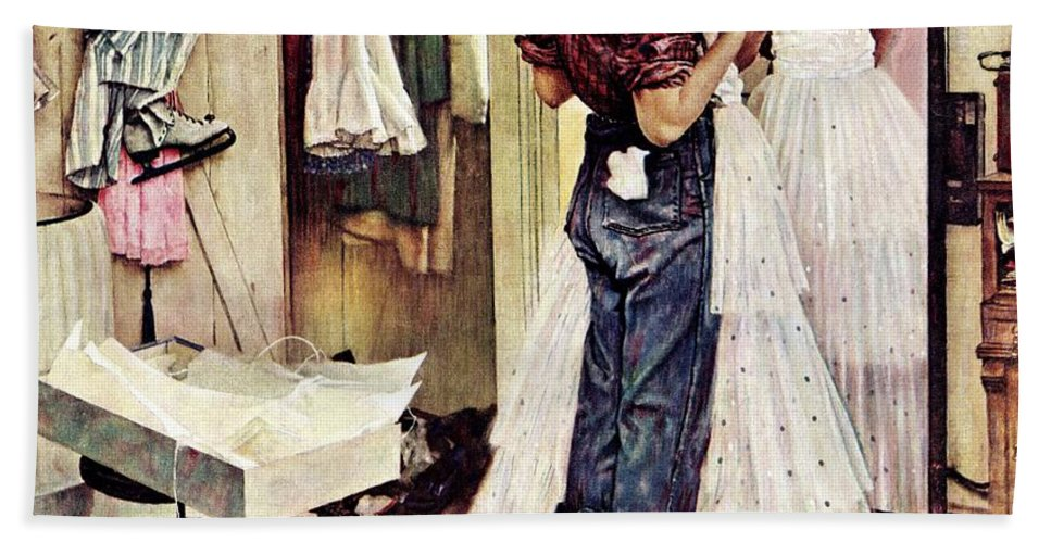 Dresses Bath Towel featuring the drawing Prom Dress by Norman Rockwell