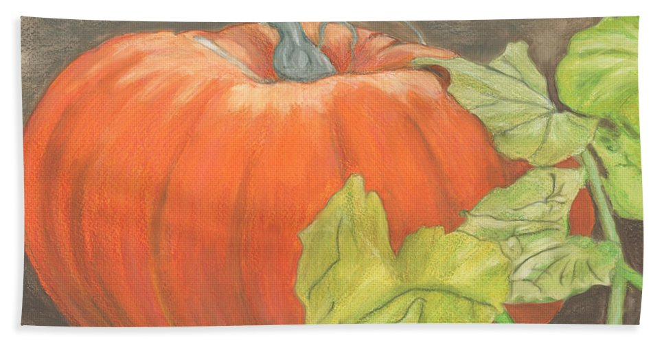 Pumpkin Bath Sheet featuring the painting Pumpkin In Patch by Marcella Chapman