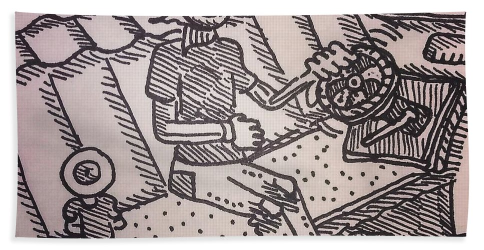 Eye Pen Crosshatch Ink Trippy Car Interior Bath Towel featuring the drawing Pupil And Student by Mark Borek