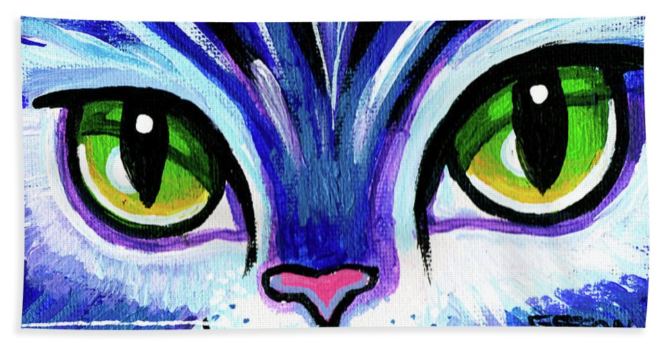 Cat Bath Towel featuring the painting Purple Cat Face With Green Eyes by Genevieve Esson