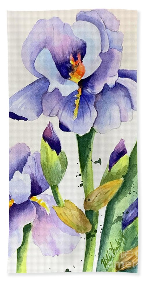 Purple Iris Bath Towel featuring the painting Purple Iris And Buds by Hilda Vandergriff