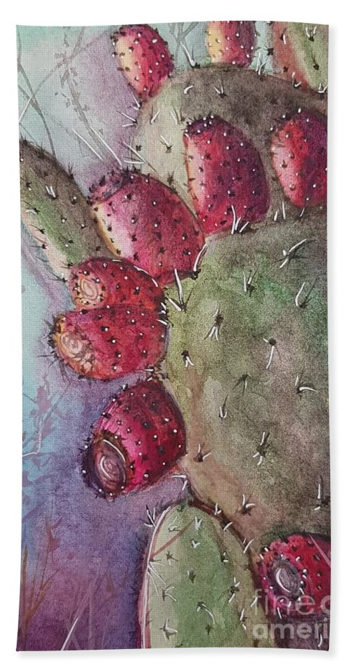 Purple Bath Towel featuring the painting Purple Pricky Pear Cactus by Paola Baroni