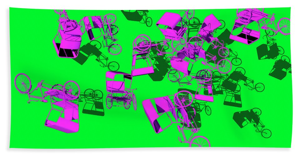 Rickshaws Hand Towel featuring the digital art Purple Rickshaws Flying by Heike Remy