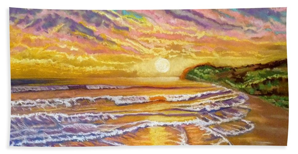 Sunset Bath Towel featuring the painting Purple Sunset Beach by Patricia Bonnette
