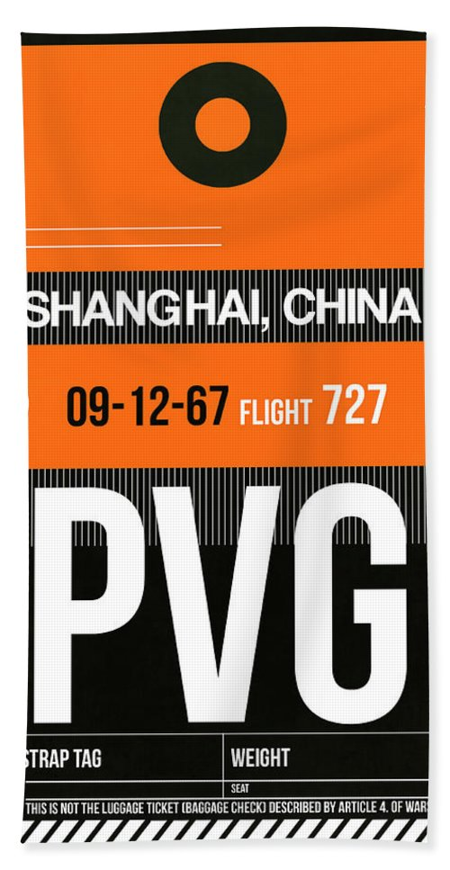 Vacation Bath Towel featuring the digital art Pvg Shanghai Luggage Tag II by Naxart Studio