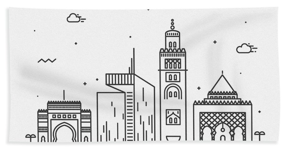 Rabat Bath Towel featuring the drawing Rabat Cityscape Travel Poster by Inspirowl Design