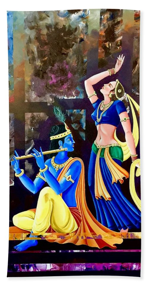 Indian Artist Peeyush Sharma Bath Sheet featuring the painting Radhakrishna by Peeyush Sharma