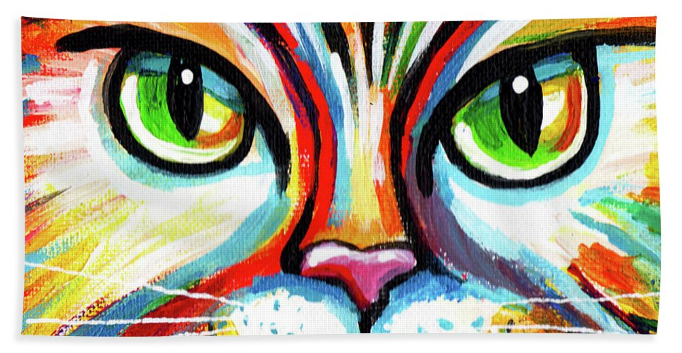 Cat Bath Towel featuring the painting Rainbow Cat Face by Genevieve Esson