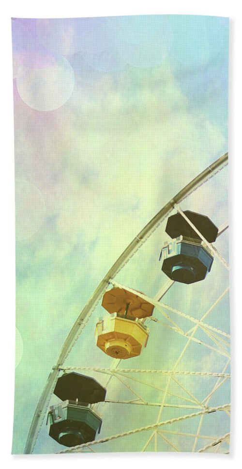 Photography Bath Towel featuring the photograph Rainbow Ferris Wheel V by Sylvia Coomes