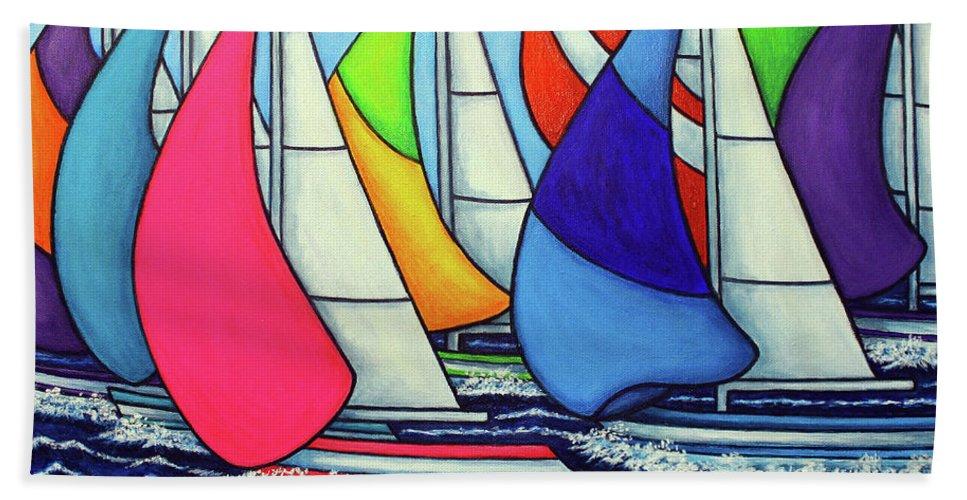 Sailing Hand Towel featuring the painting Rainbow Racing Regatta by Lisa Lorenz