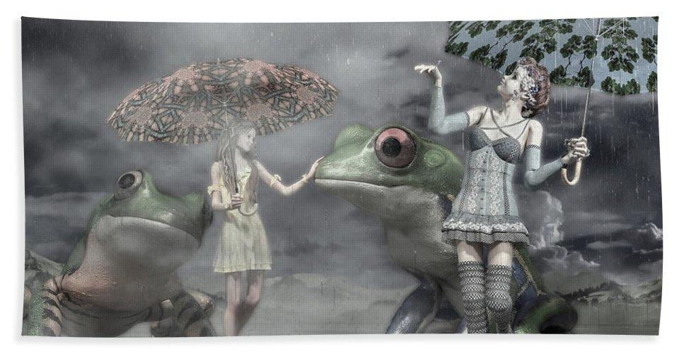Frog Bath Towel featuring the digital art Rainy Day Daydream by Betsy Knapp