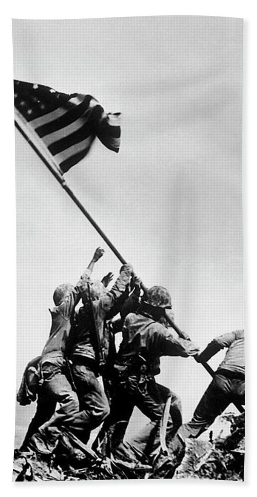 Iwo Jima Hand Towel featuring the photograph Raising The Flag On Iwo Jima - Ww2 - 1945 by War Is Hell Store