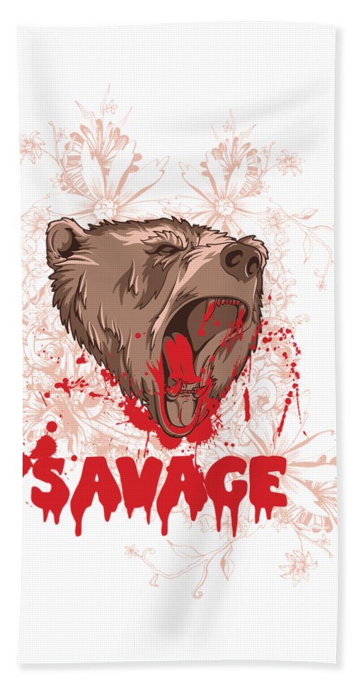Animal Bath Towel featuring the digital art Rampaging Bear Savage by Passion Loft