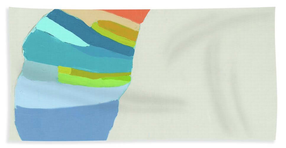 Abstract Hand Towel featuring the painting Ready To Make A Splash by Claire Desjardins