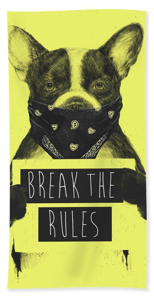 Dog Bath Towel featuring the mixed media Rebel Dog II by Balazs Solti