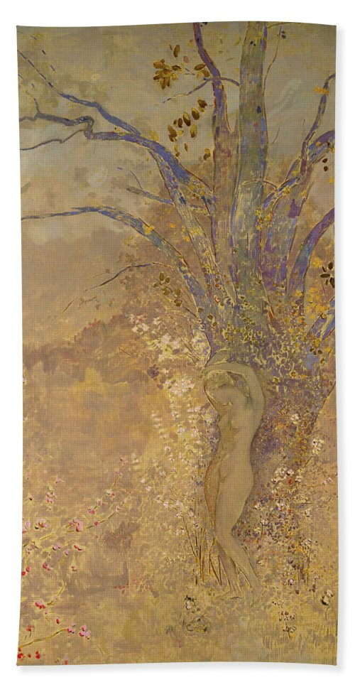 Odilon Redon Bath Towel featuring the painting Rebirth, Spring, 1908 by Odilon Redon