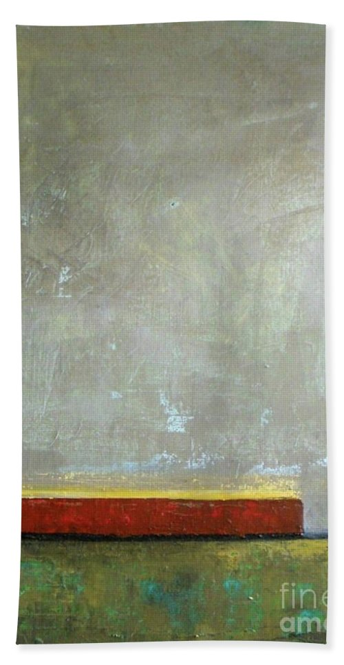 Contemporary Abstract Bath Sheet featuring the painting Red Barn by Vesna Antic